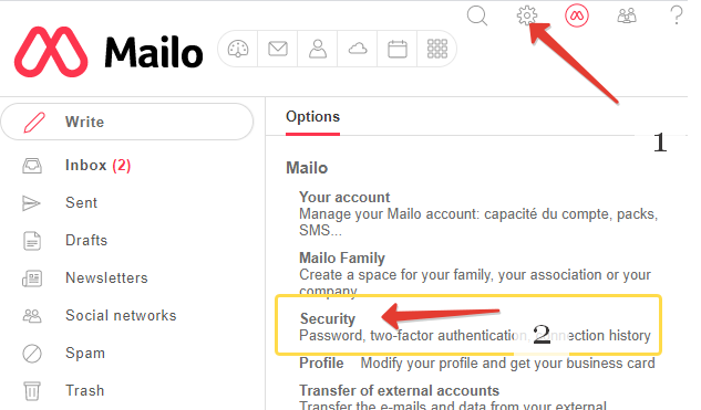 Mailo two-factor authentication using Token2 programmable tokens