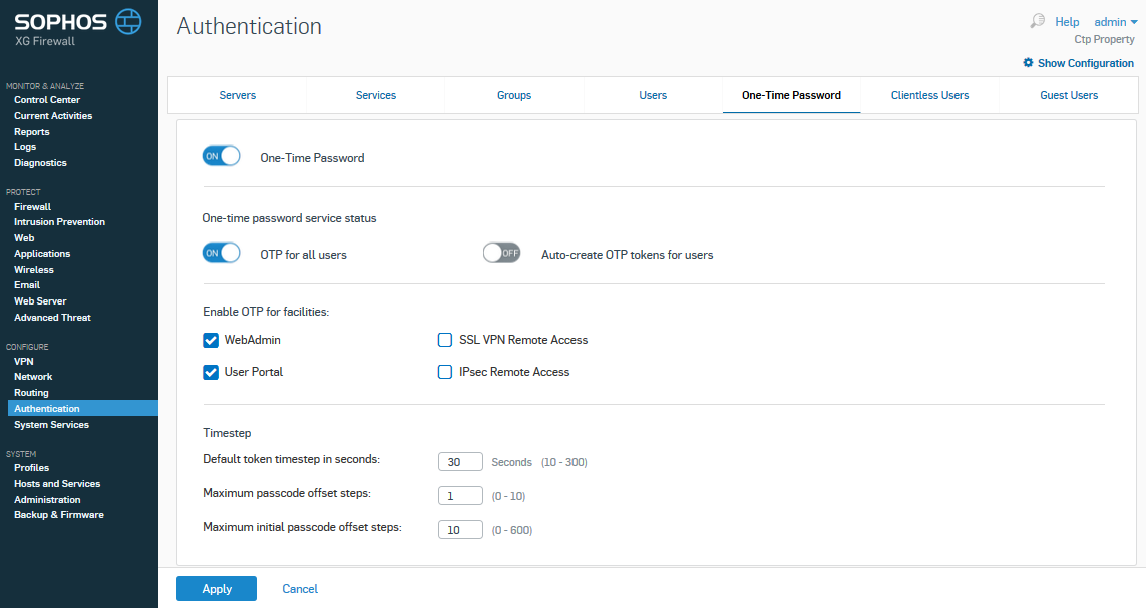 Sophos XG Firewall: Enable Token2 classic hardware tokens for multi-factor authentication